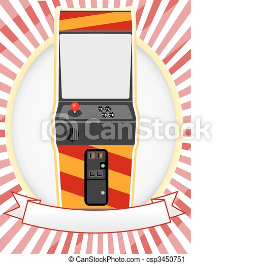 Vector Clip Art of Video Arcade Cabinet Oval Ad Setting - Retro gaming ...