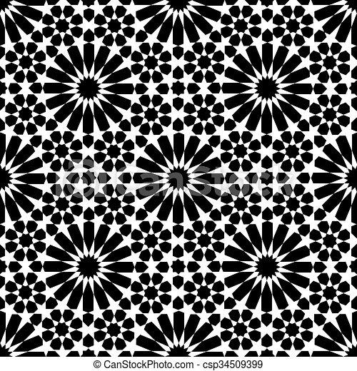vecteurs eps de seamless marocain zellige blanc et noir mosa que csp34509399. Black Bedroom Furniture Sets. Home Design Ideas