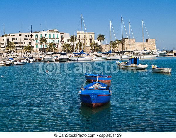 Old port with rowboats. Bari. Apulia. - csp3451129
