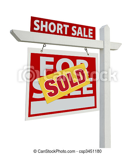 Sold Short Sale Real Estate Sign Isolated - Left - csp3451180