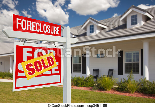 Sold Foreclosure Real Estate Sign and House - Left - csp3451189