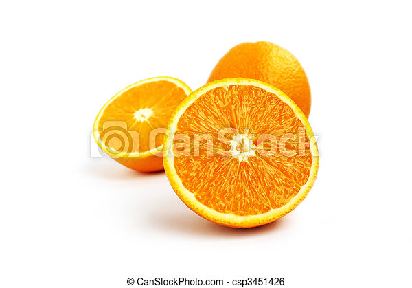 Juicy orange fruit isolated on white background - csp3451426