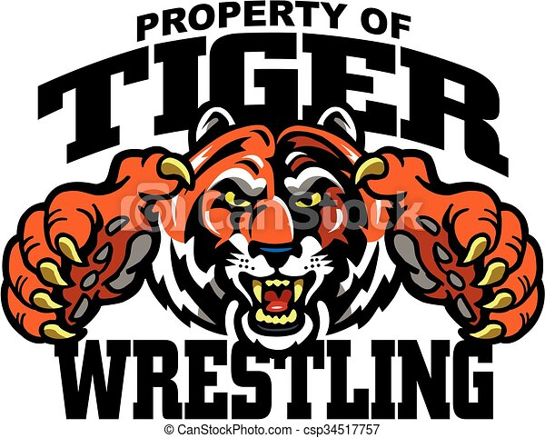 Clipart Vector of tiger wrestling team design with mascot for ...