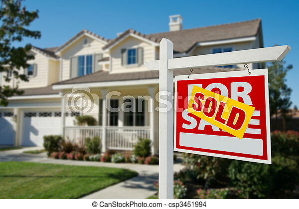 Sold Real Estate Sign and House - csp3451994