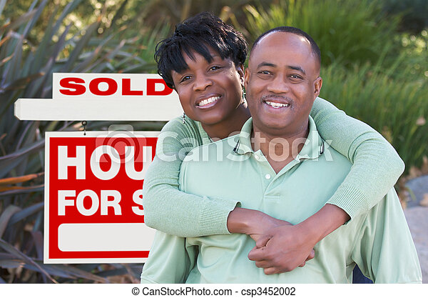 Happy Couple and Real Estate Sign - csp3452002