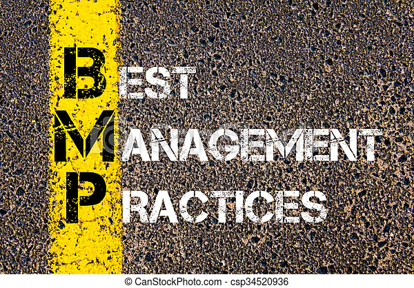 Concept image of Business Acronym BMP Best Management Practices written over road marking yellow paint line