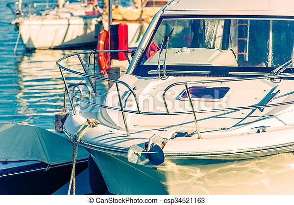 Fishing Sport Boat Closeup Photo. Boating and Fishing Theme.