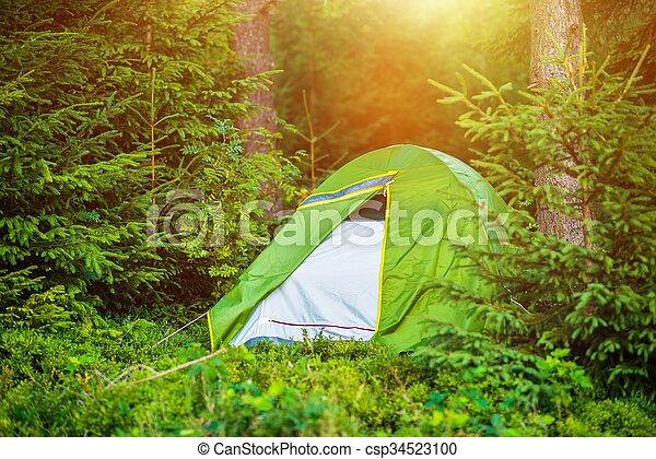 Wild Summer Camping in the Middle of Nowhere. Camping and Recreation Theme.