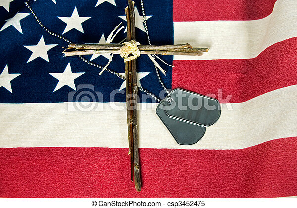 Stock Images Of Memorial Day Military Dog Tags And Cross