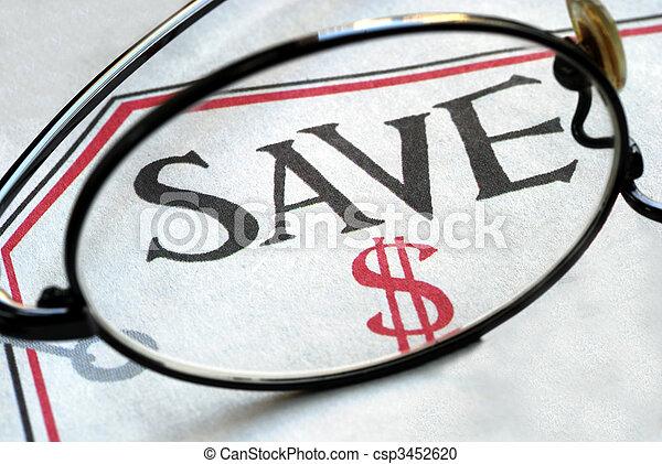 Focus on saving money when making purchase - csp3452620