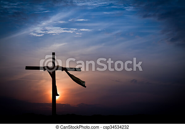 Dramatic Sunrise Lighting and Easter Cross