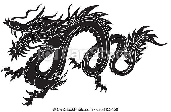 Clipart vecteur de dragon r sum vecteur illustration - Comment dessiner un dragon chinois ...