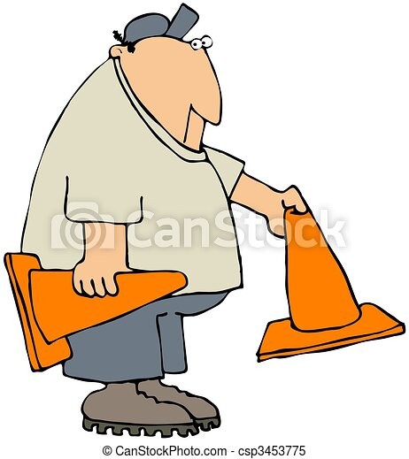 Worker Putting Out Safety Cones - csp3453775