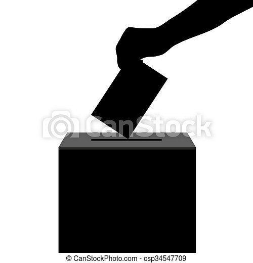 hand casts ballot in the ballot box in elections silhouette - csp34547709