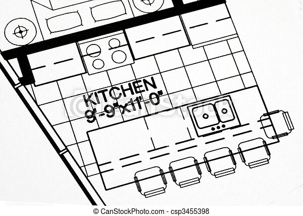 A floor plan focused on the kitchen and dinning area - csp3455398