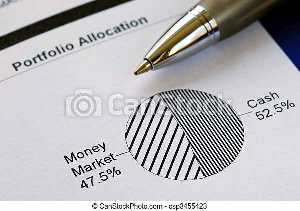 Portfolio allocation illustrates the asset in a pie chart - csp3455423