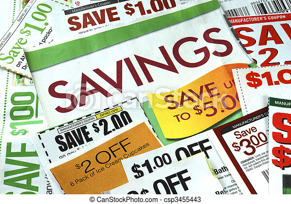 Cut up some coupons to save money  - csp3455443