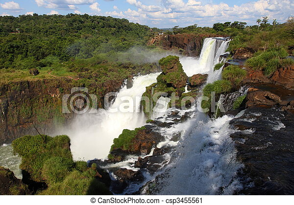 Iguassu waterfalls on a sunny day early in the morning. The biggest waterfalls on earth. - csp3455561
