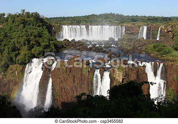 Iguassu waterfalls on a sunny day early in the morning. The biggest waterfalls on earth. - csp3455582