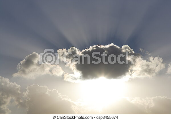 Shafts of sunlight behind clouds - csp3455674