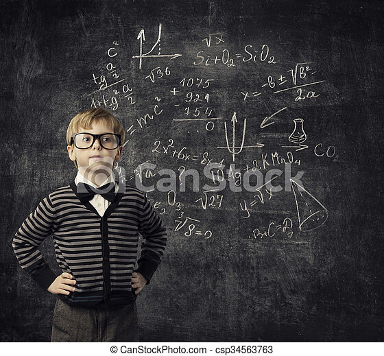 Child in Glasses Learning Mathematics, Children Education, Student Kid Learn Math