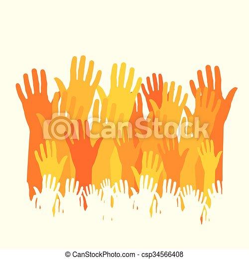 happy hands vector - csp34566408