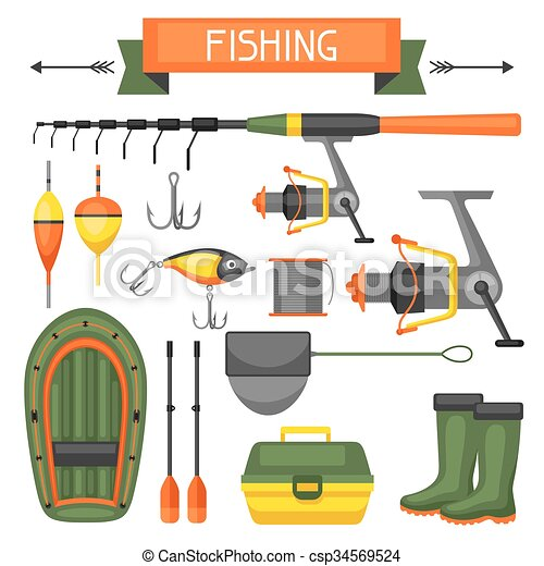 Vector illustration of set of fishing supplies objects for Fishing gear stores near me
