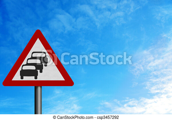 Photo realistic 'queues likely' sign, against a bright blue sky - csp3457292