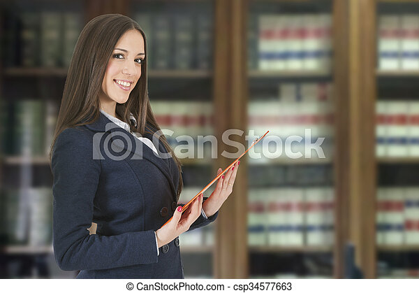 business woman at the library - csp34577663
