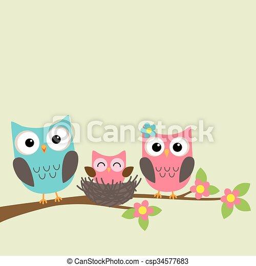 Cartoon family of owls - csp34577683