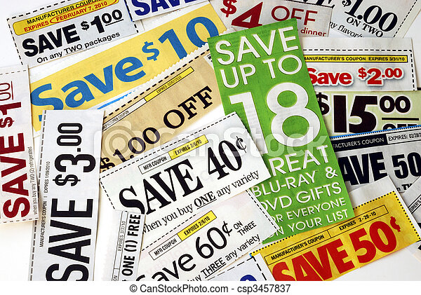 Cut up some coupons to save money - csp3457837