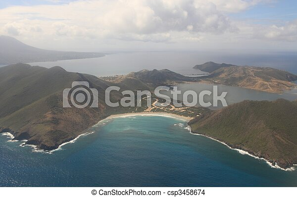 Aerial view of St. Kitts & Nevis in the Caribbean Sea - csp3458674