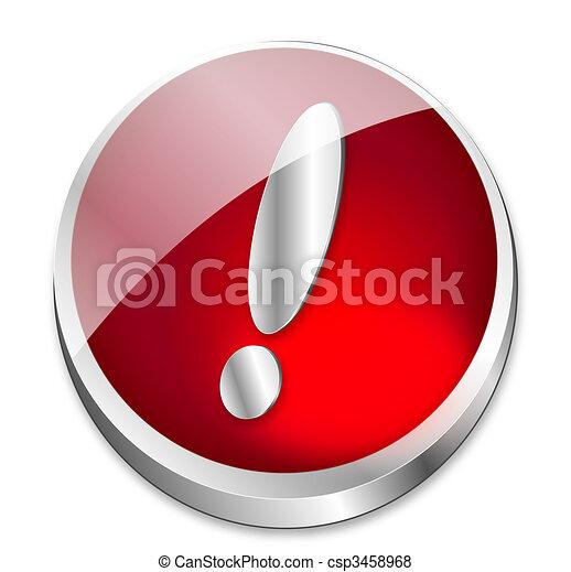 illustration de bouton attention a brillant rouges