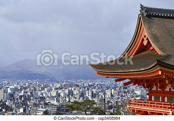 Beautiful Vista of Kyoto Japan from Kiyomizu Temple.