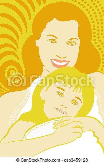 filha, Abraçando, mãe - csp3459128