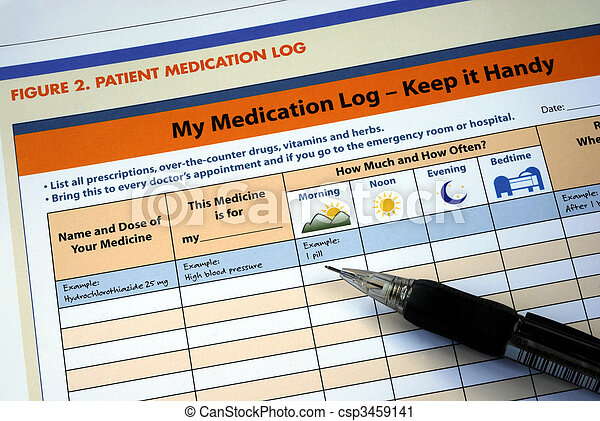 Prepare and maintain the patient medication log - csp3459141