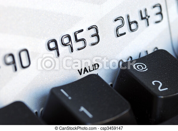 Credit card and keyboard concept online shopping or banking - csp3459147