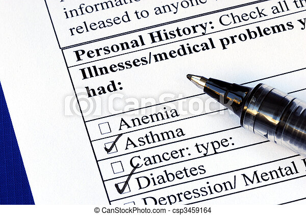 Patient selects the illness in the medical history section isolated on blue - csp3459164