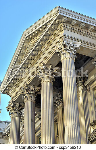 Neoclassical architecture with columns from the City Hall in New York City - csp3459210