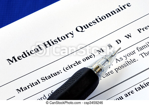 File the medical history questionnaire with a pencil - csp3459246