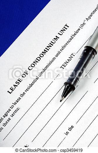Lease of condominium unit isolated on blue - csp3459419