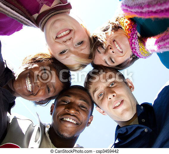 Faces of smiling Multi-racial college students - csp3459442