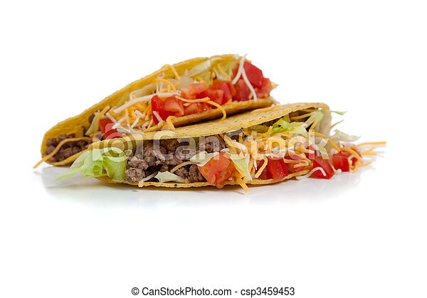 two beef tacos on white with copy space - csp3459453