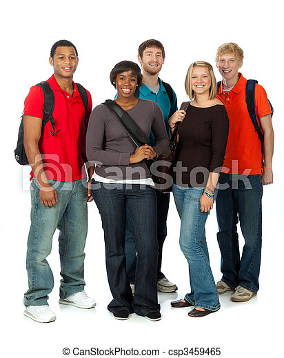 Multi-racial college students on white - csp3459465