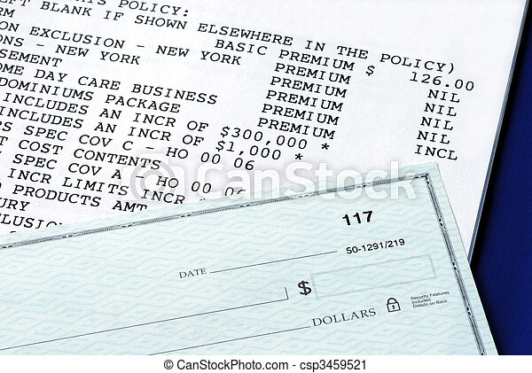 Home property insurance policy and personal check - csp3459521