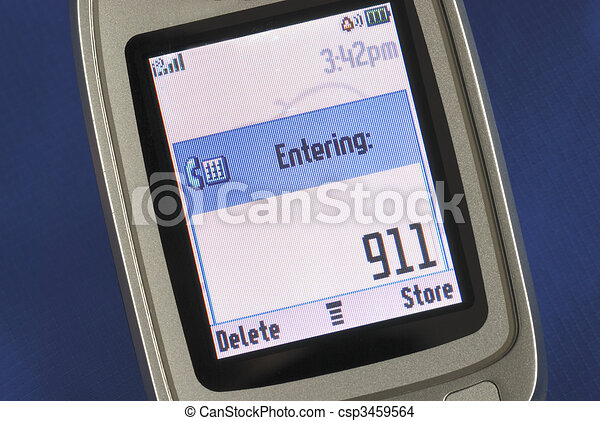 Emergency number 911 displayed on a cell phone - csp3459564