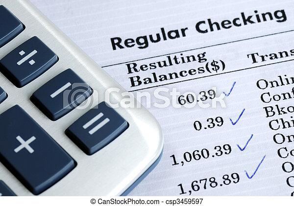 cheque, banco, declaração, equilíbrio, conta - csp3459597