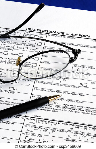 Fill the health insurance claim form isolated on blue - csp3459609