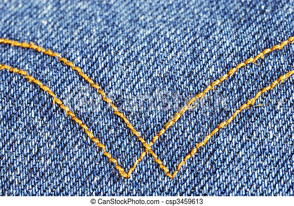Denim material with curry seams running like a W - csp3459613