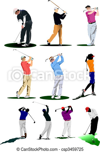 Golf players. Vector illustration - csp3459725